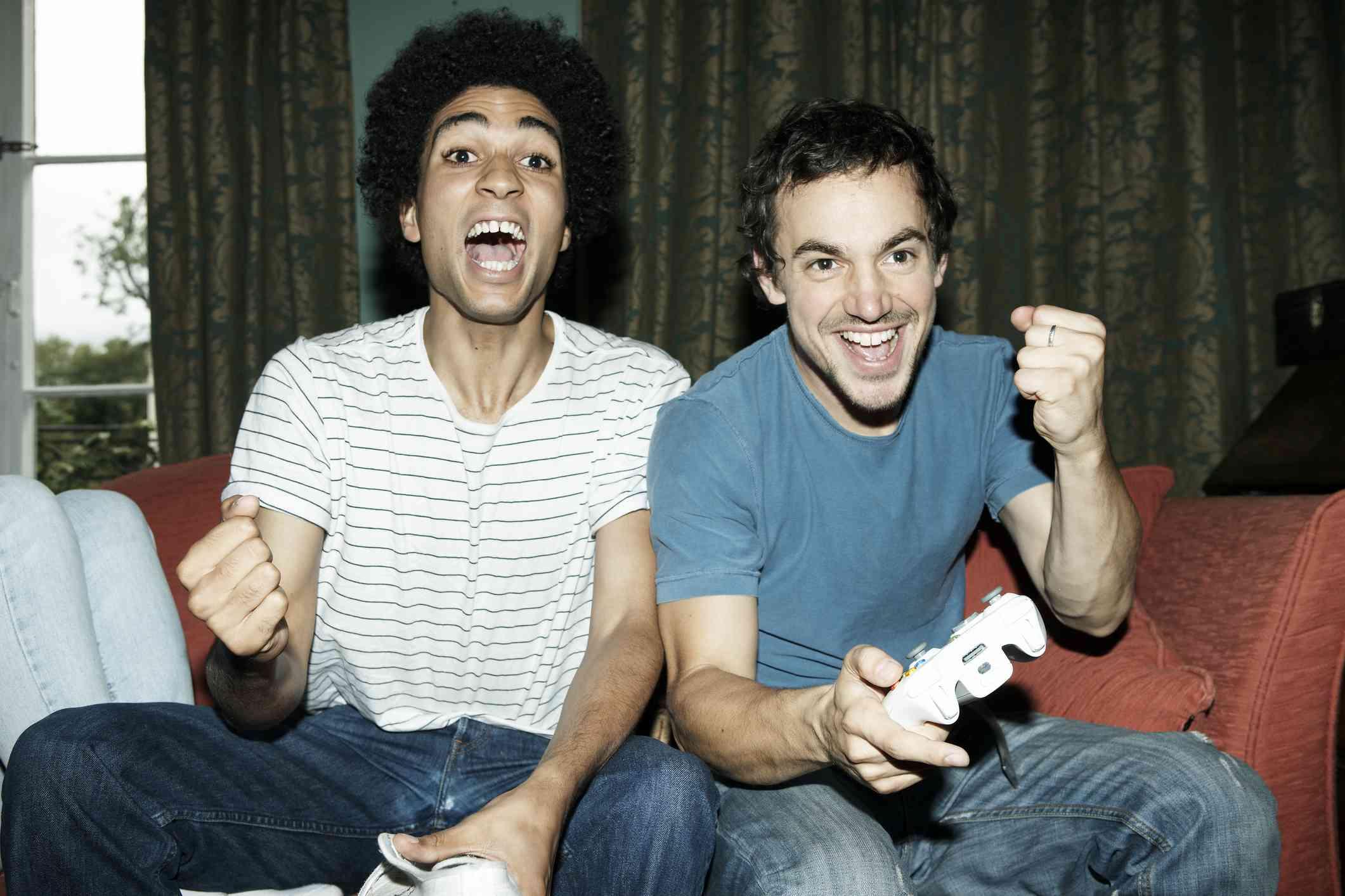 Guys playing game