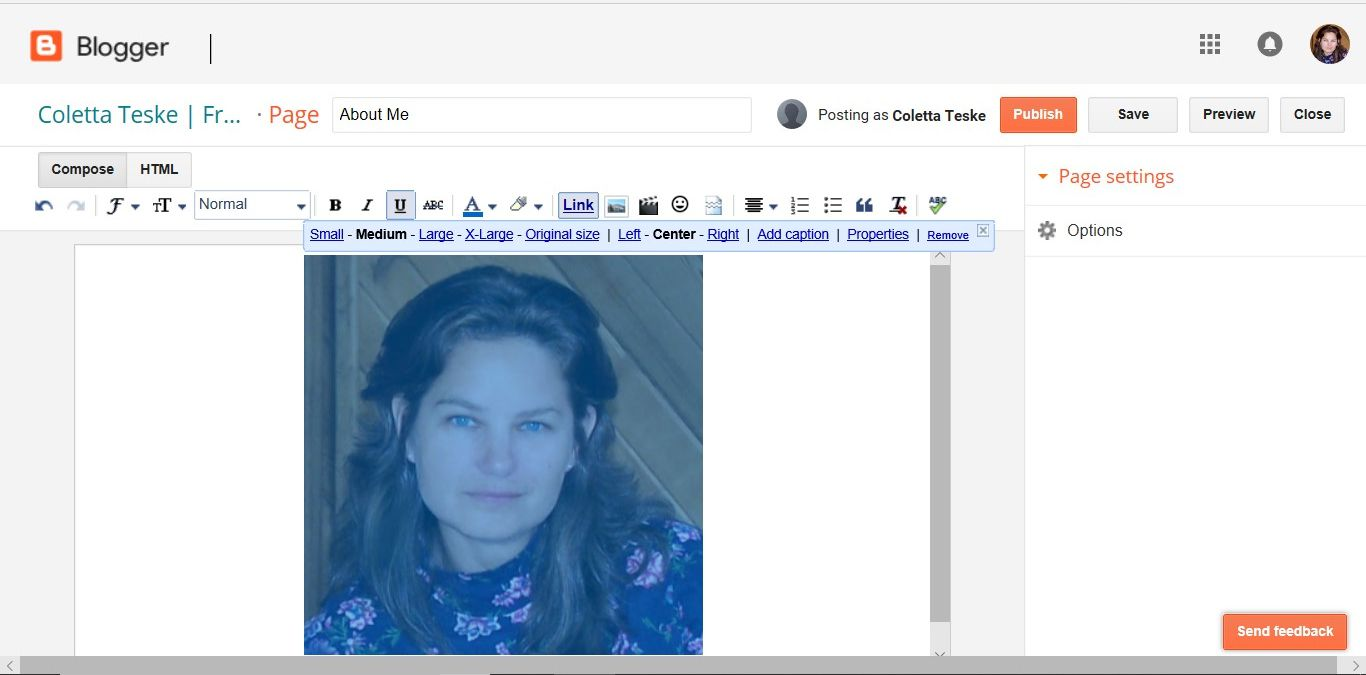 A screenshot showing how to add alt text to upload image on Google