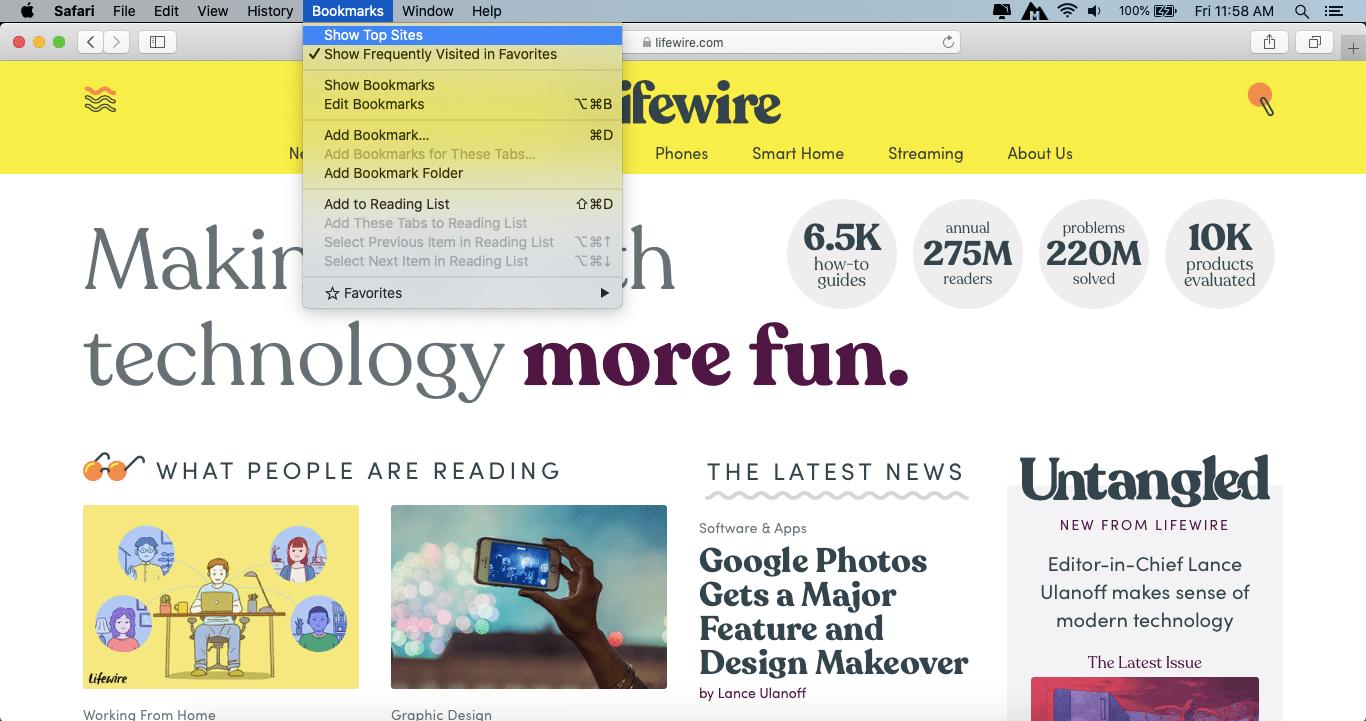 Safari menu bar Top Sites