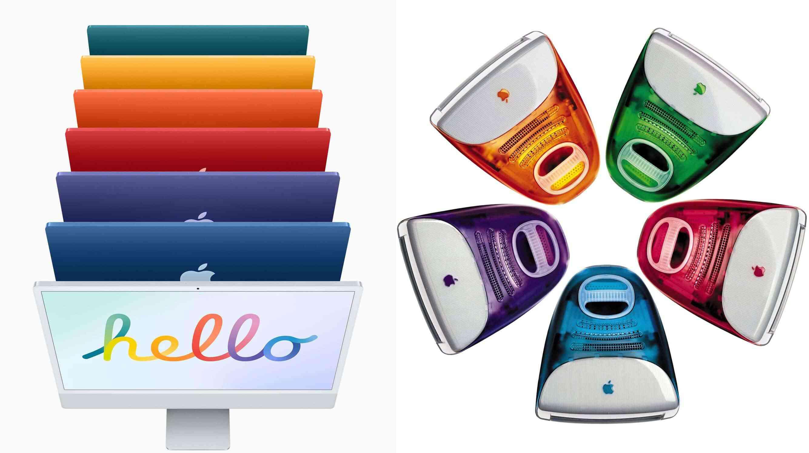 New M1 iMac next to older iMacs on a white background