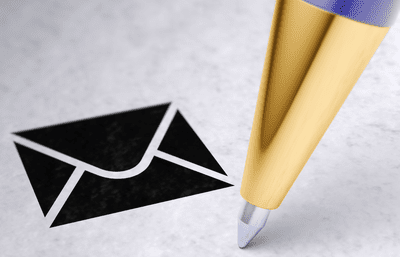 Image of a pen signing below an email icon