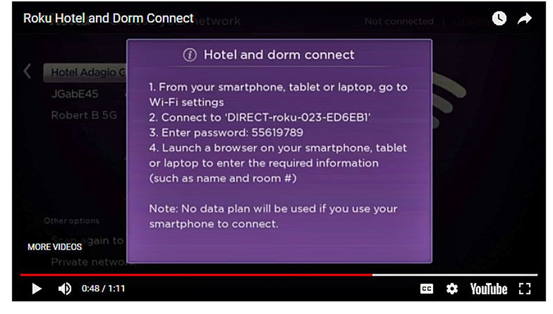Use Roku Hotel and Dorm Connect While Traveling or At School