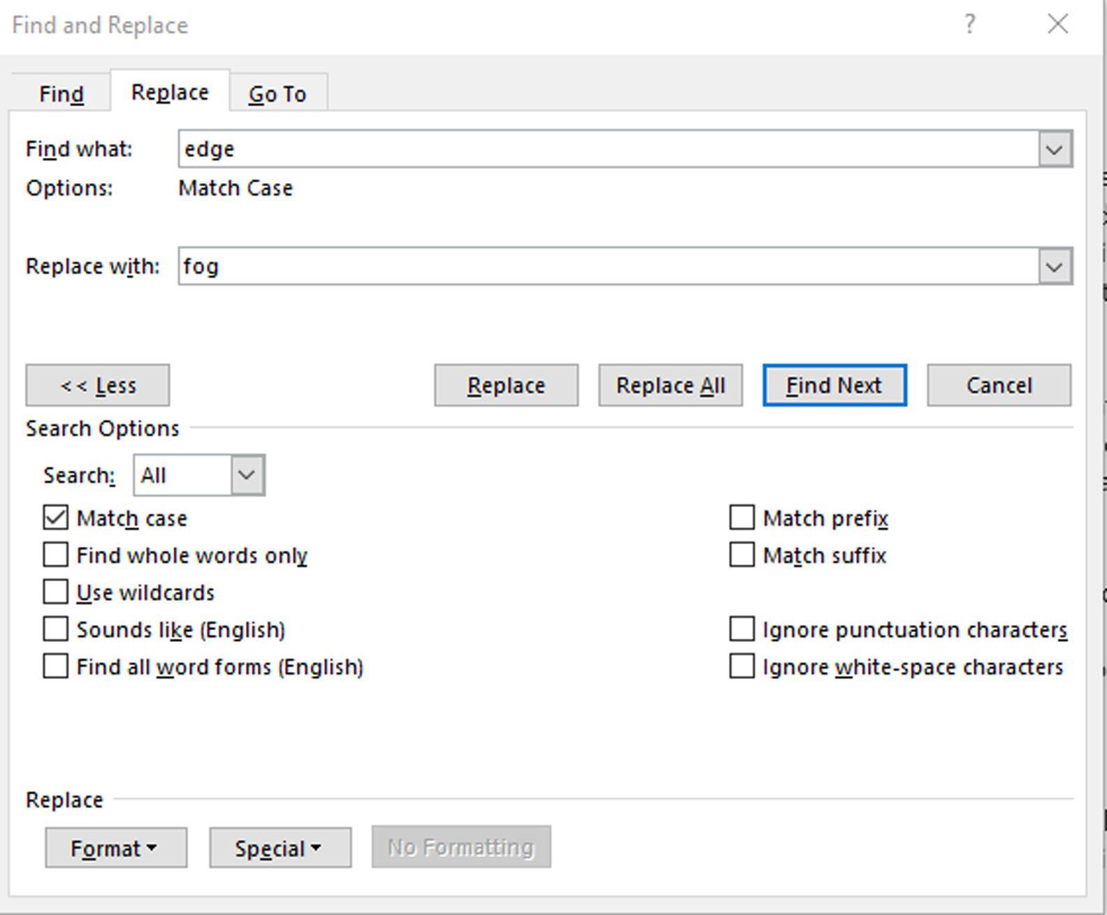 Microsoft Word Advanced Find interface
