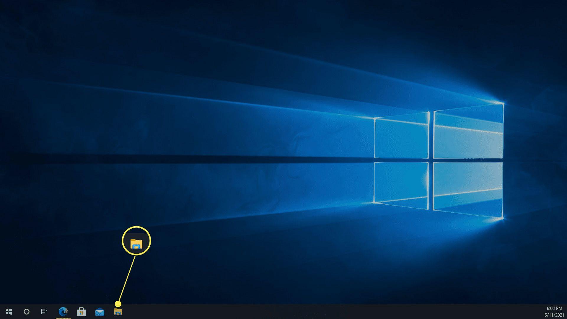 The File Explorer shortcut highlighted on the Windows 10 taskbar.