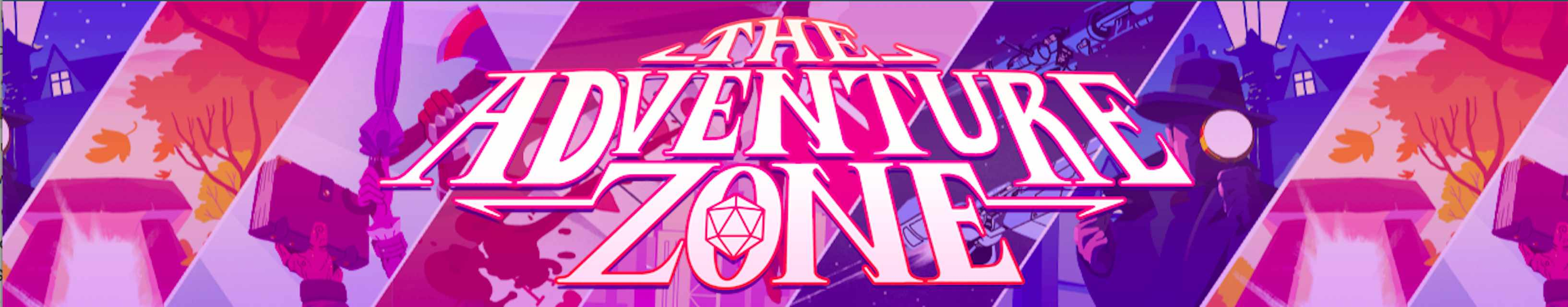 Header art for The Adventure Zone featuring illustrated scenes from games that they've played.