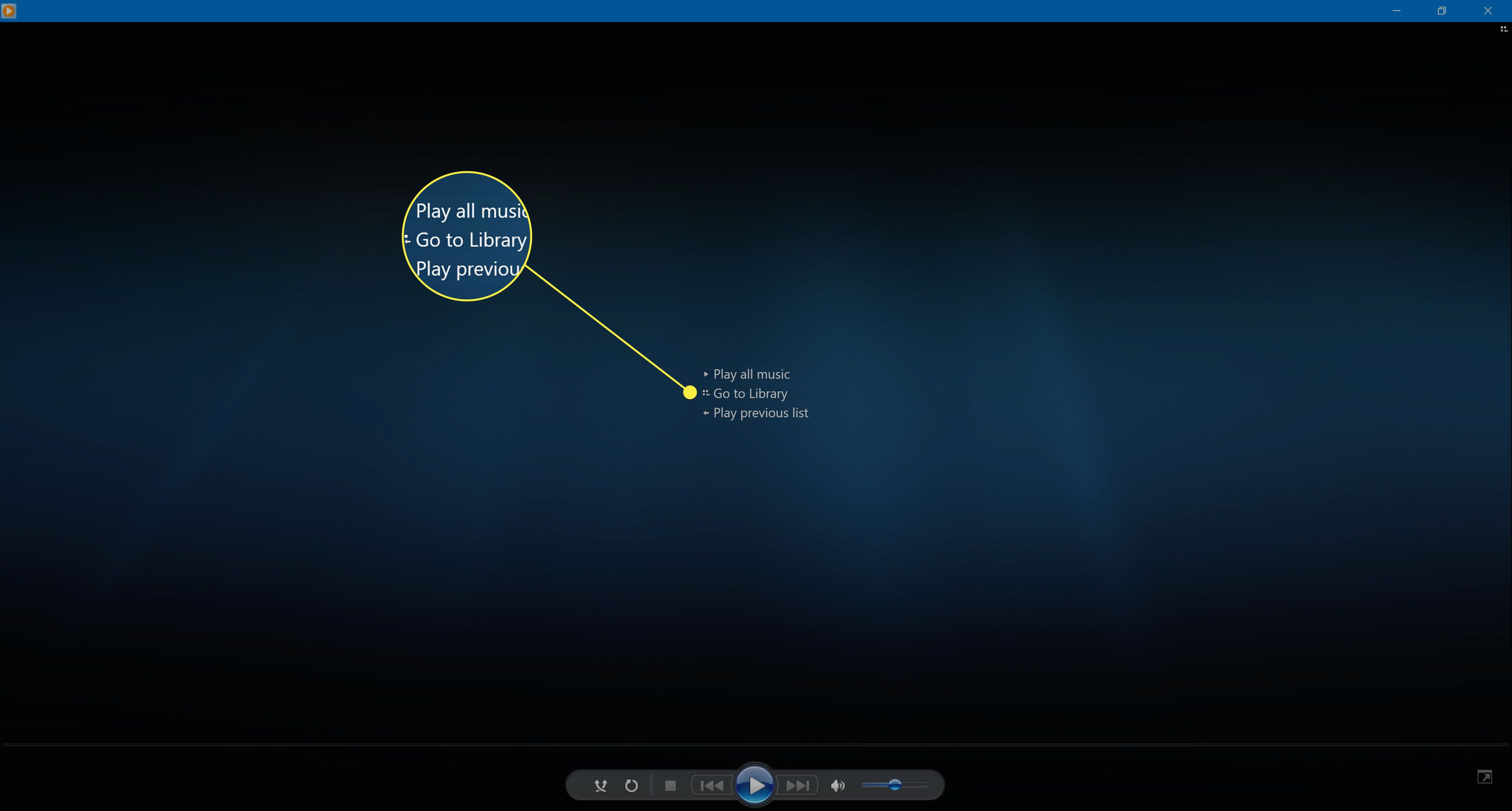 Selecting Go to Library in Windows Media Player 12.