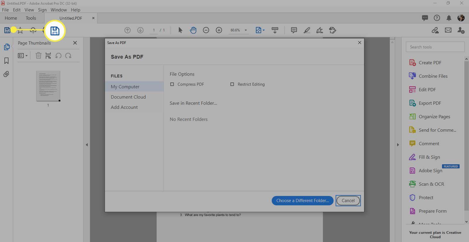 Adobe Acrobat - selecting Save icon.