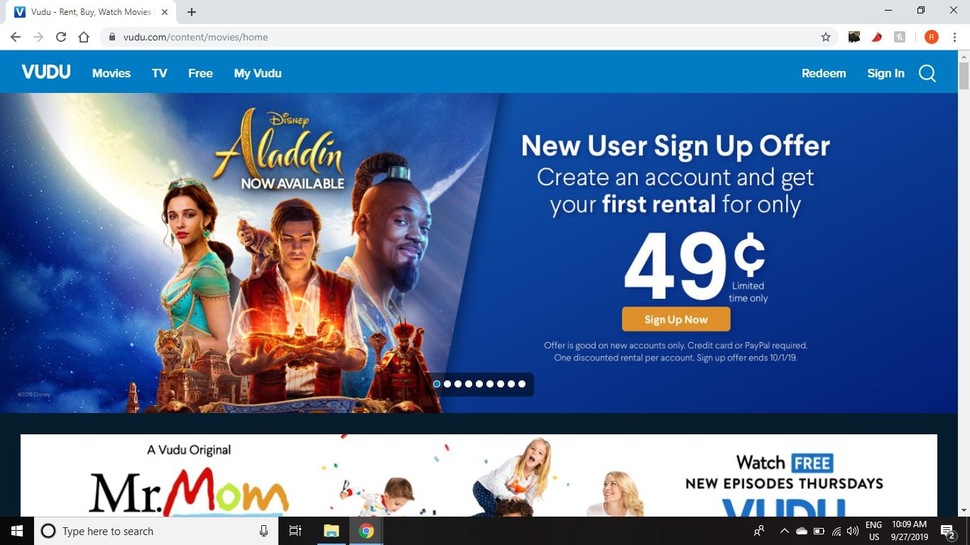 Vudu.com offers promotional discounts on new movie rentals.