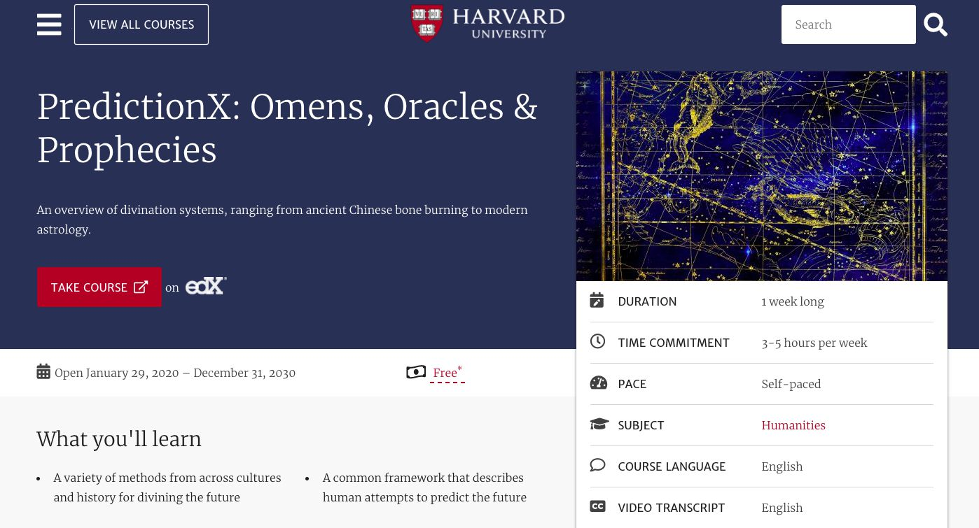 Harvard Online Learning course description for