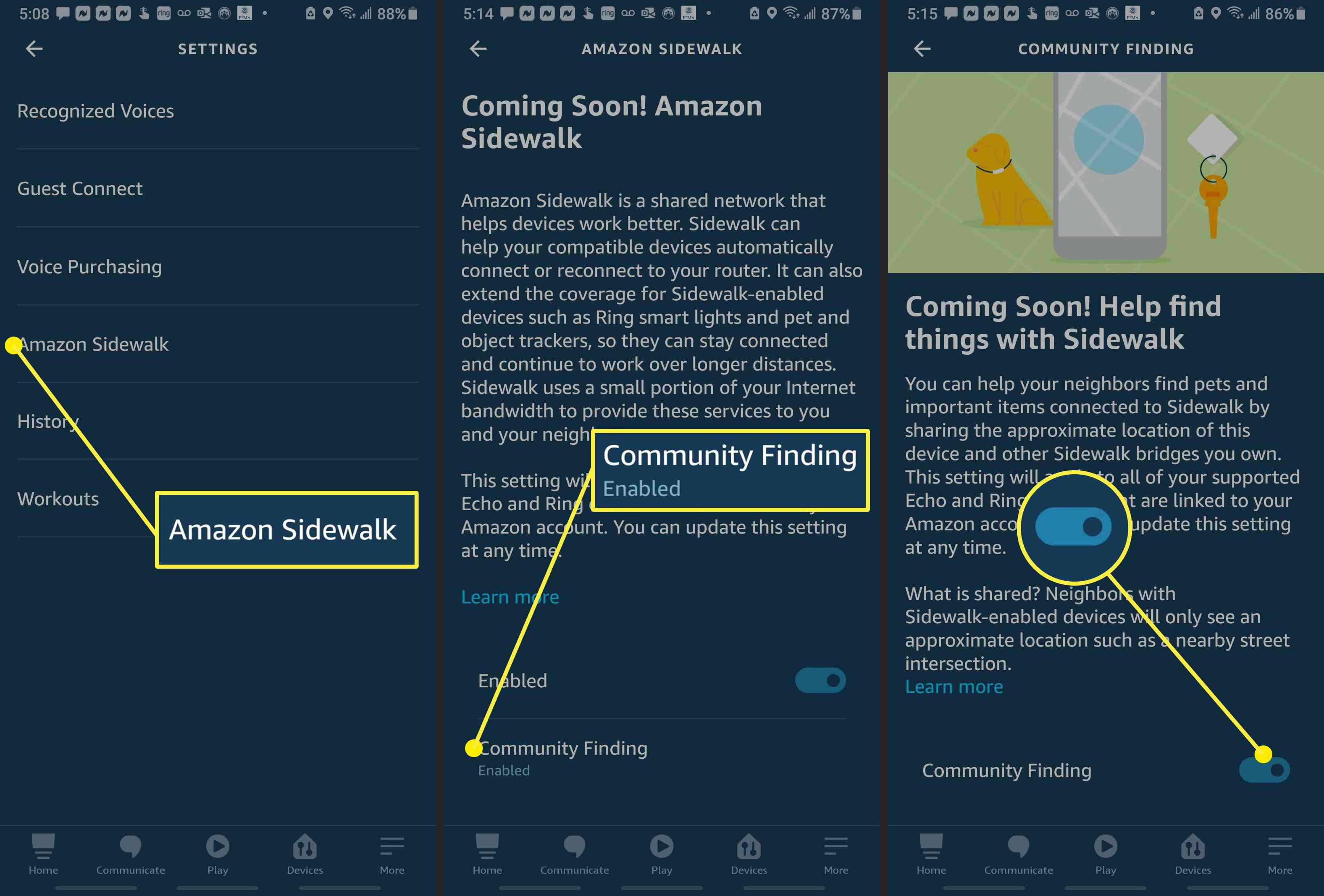 Screenshots from the Alexa app showing how to disable Community Finding.