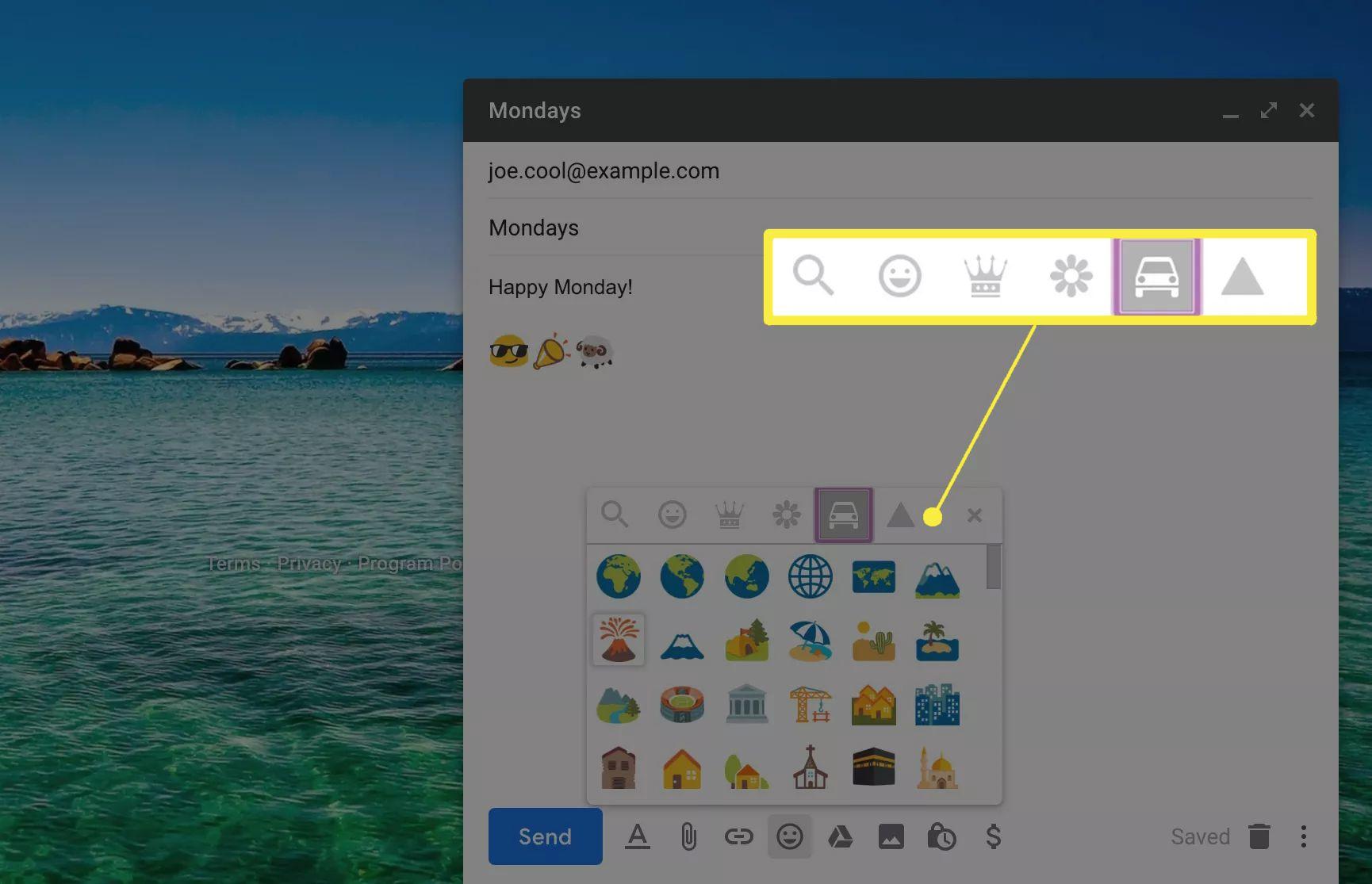 Emoji categories in Gmail