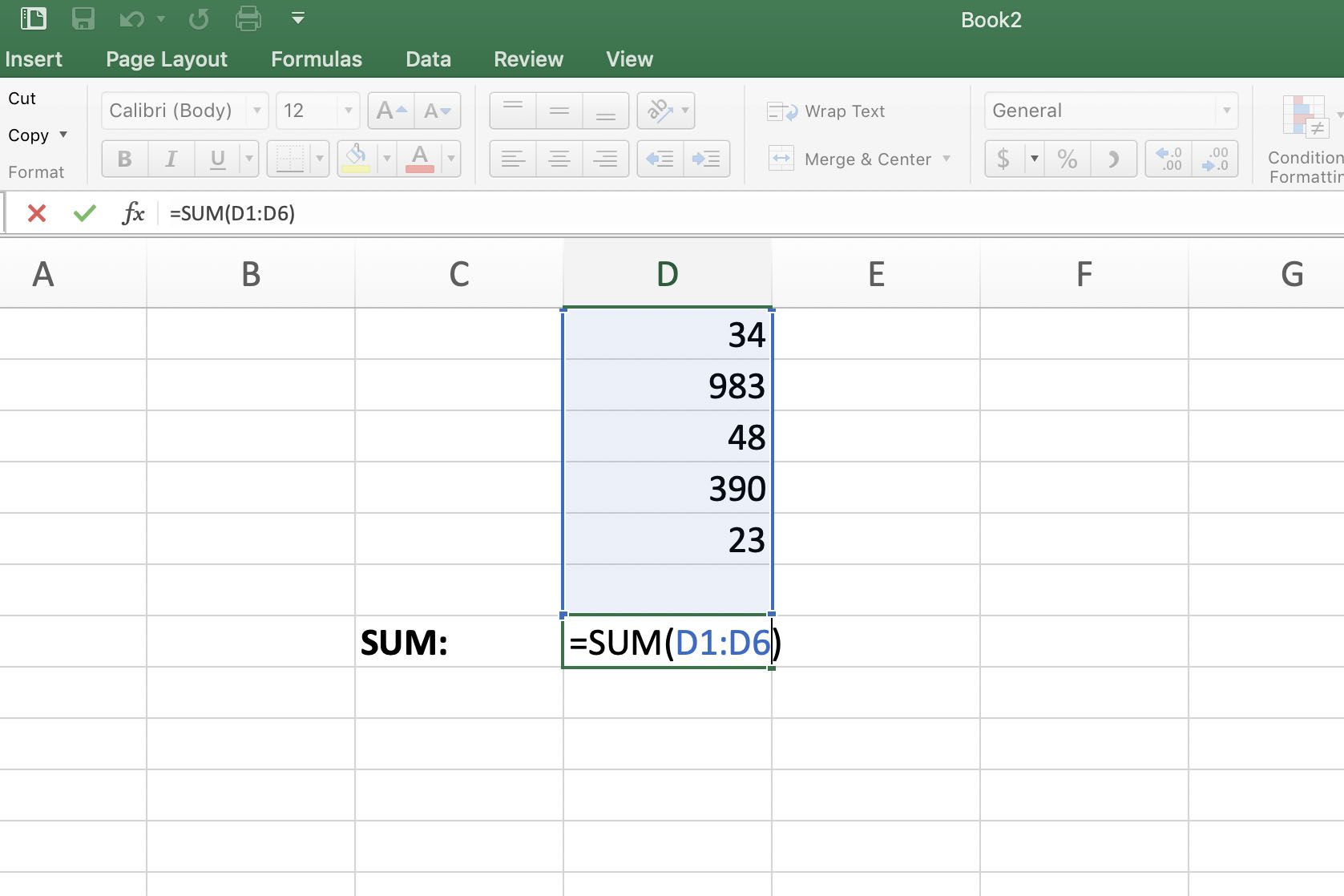 Screenshot of Excel showing SUM formula