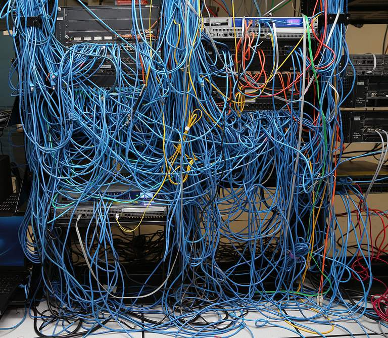 A bunch of network cables