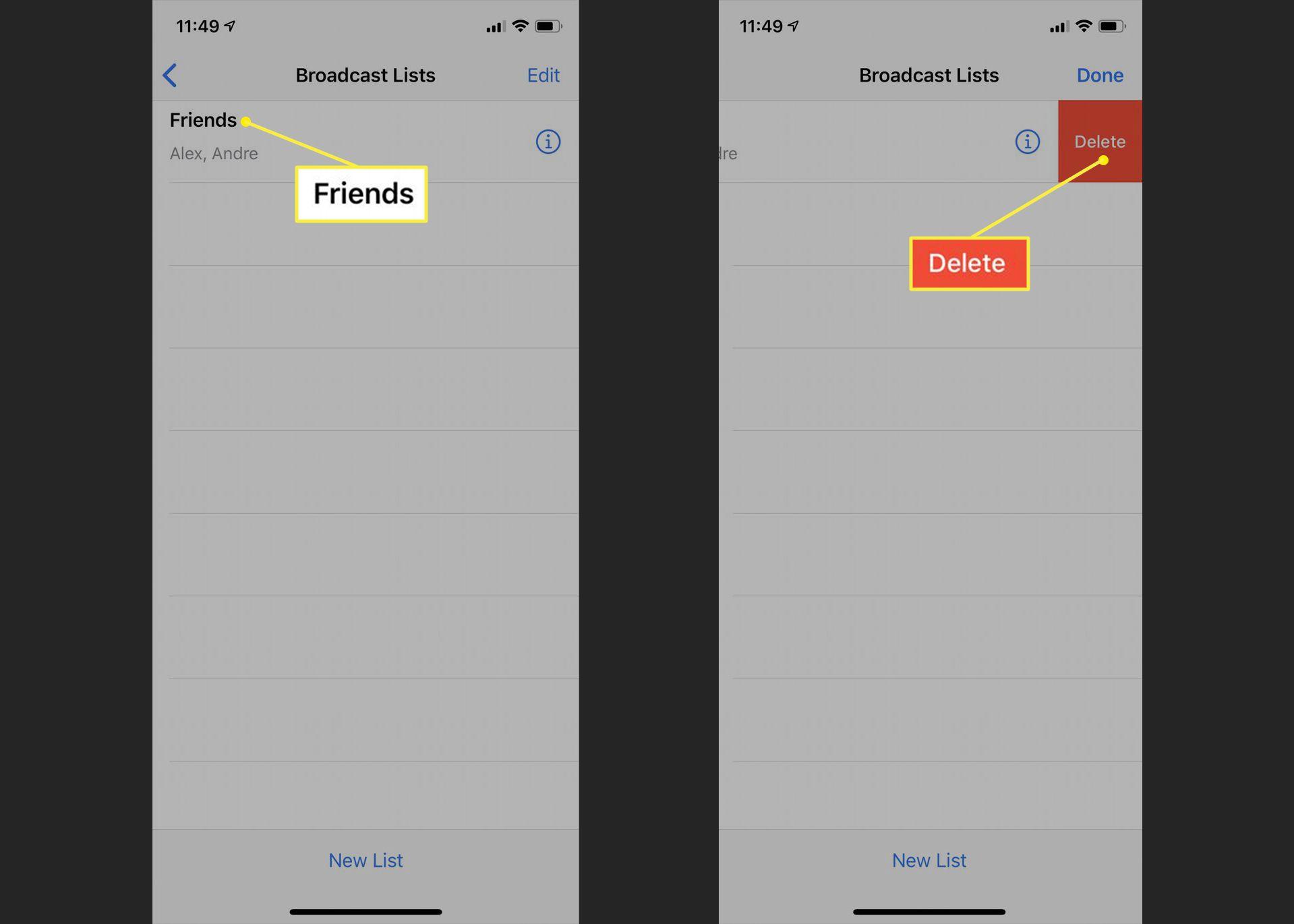 WhatsApp Broadcast List showing Delete option