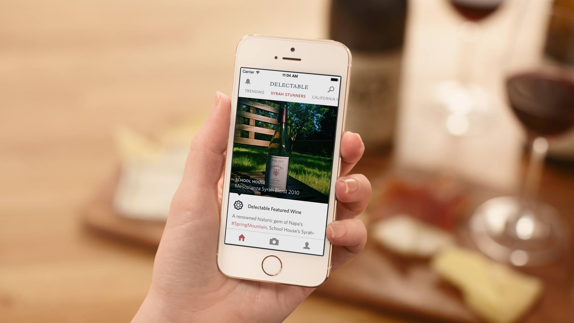 Delectable wine app on an iPhone.