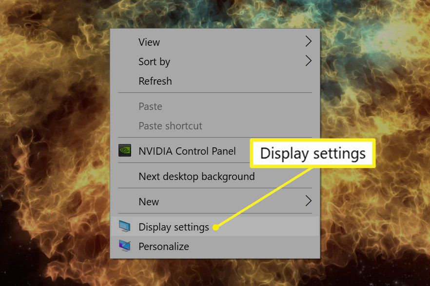 Windows desktop with right-click menu showing Display settings