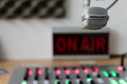 Picture of a radio program with an on air indicator