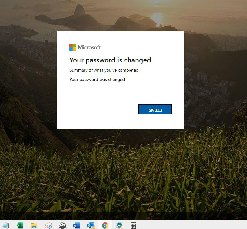 Screenshot of notification that Microsoft password is changed.