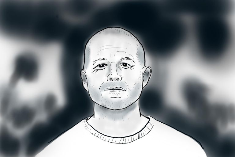 Illustration of Jony Ive in black and white