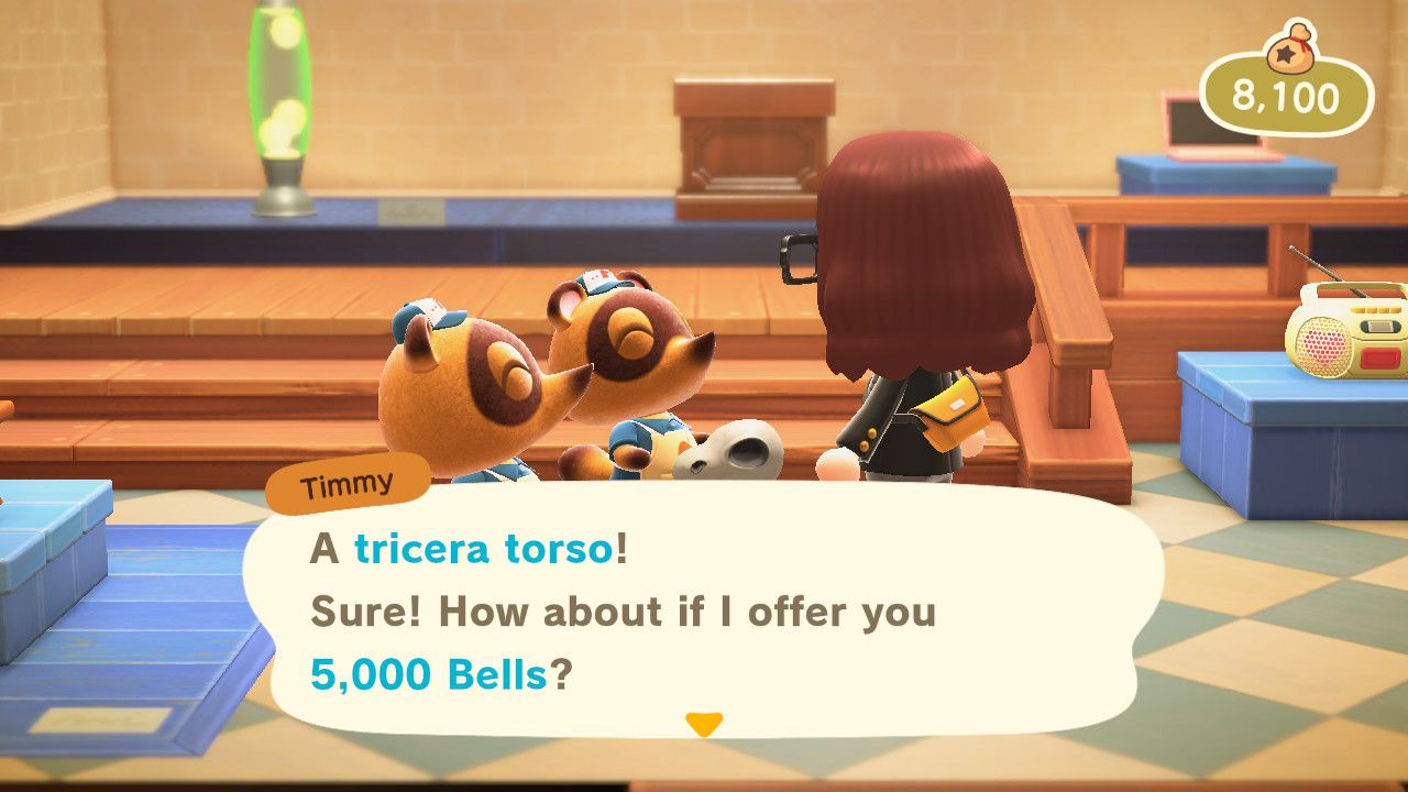 Selling a duplicate fossil in Animal Crossing.