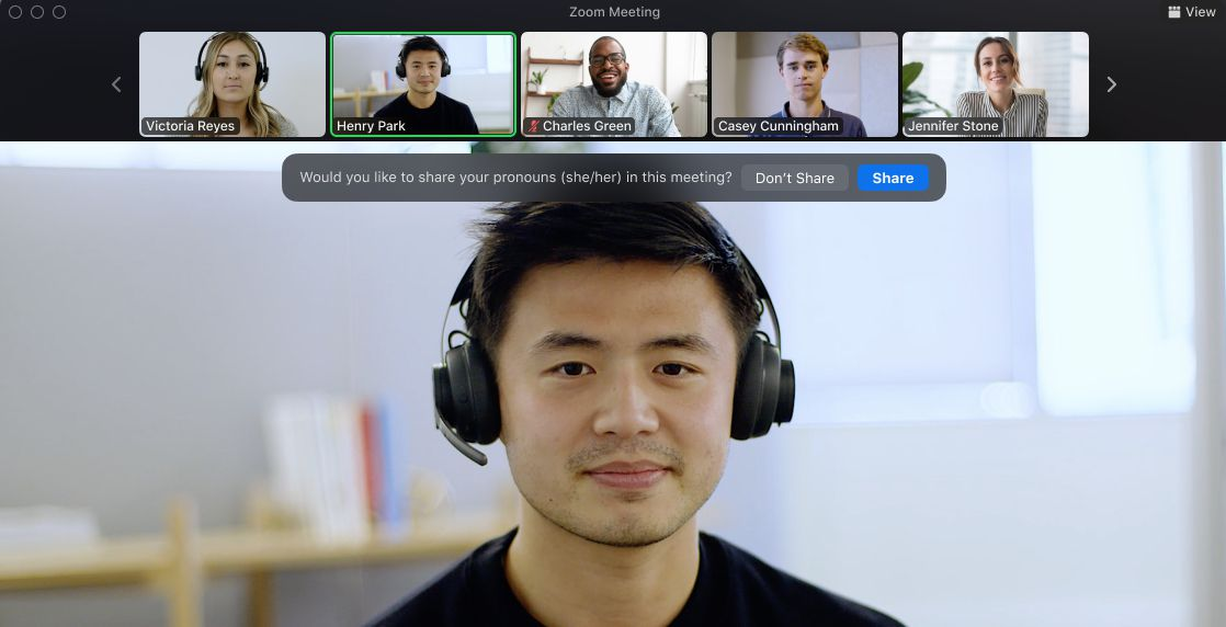 Users with pronouns enabled in a video meeting