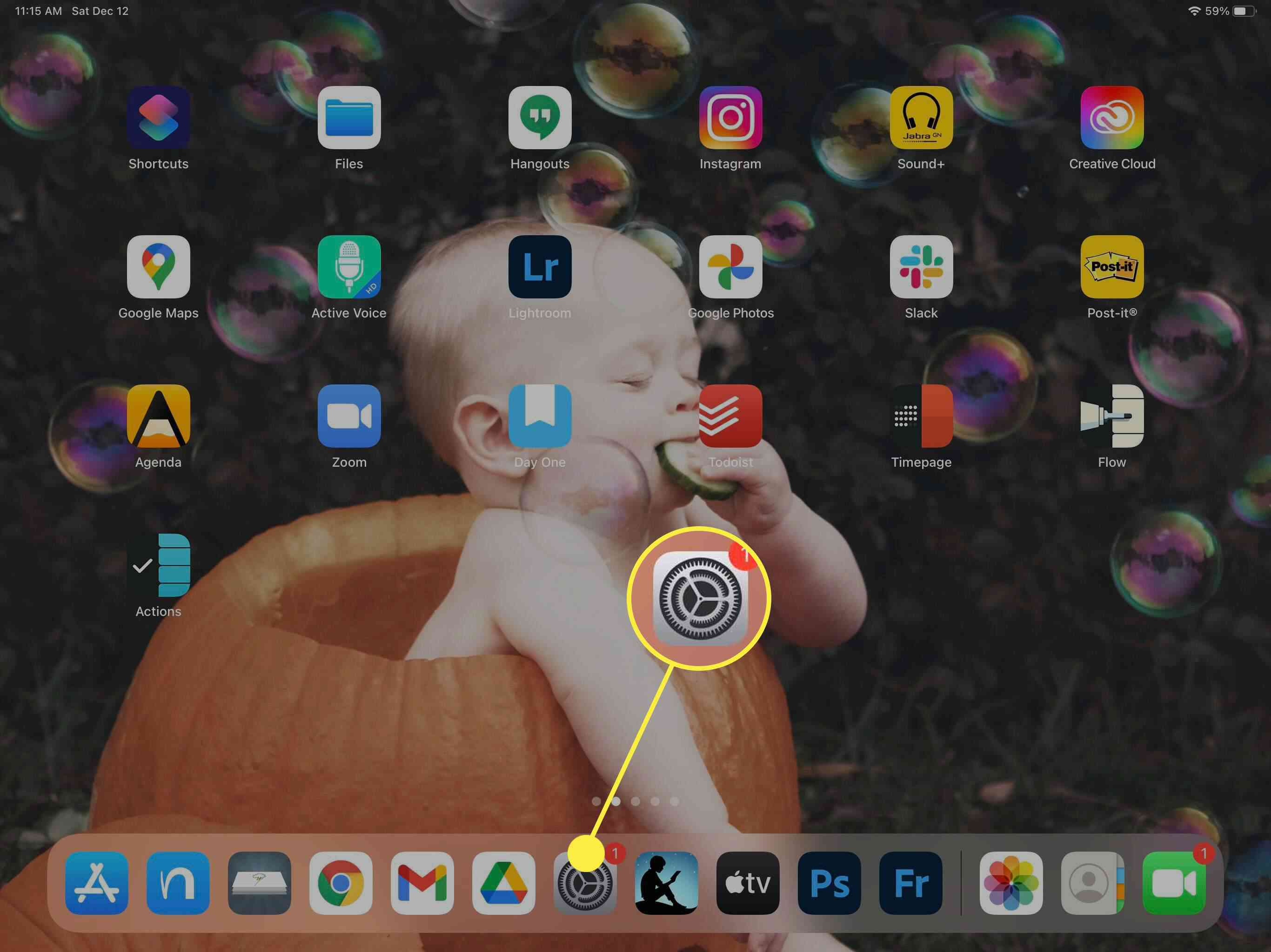 Screenshot showing the Settings app on iPad.