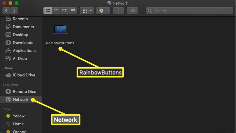 Network selected in Finder sidebar