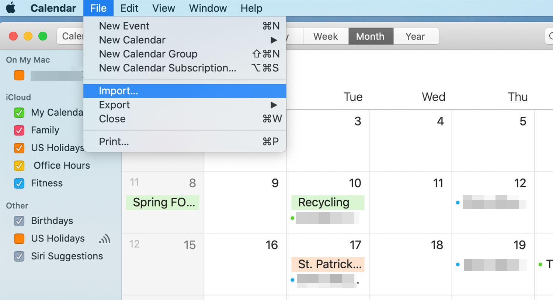 Apple Calendar application on a Mac