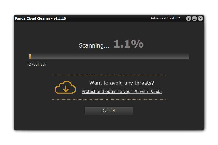 Screenshot of Panda Cloud Cleaner in Windows 10