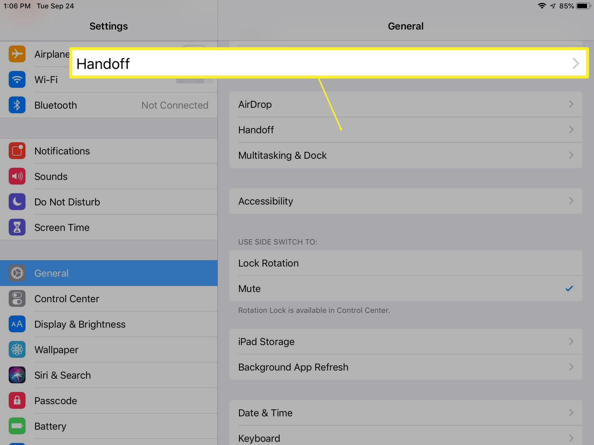 Handoff setting on iPad