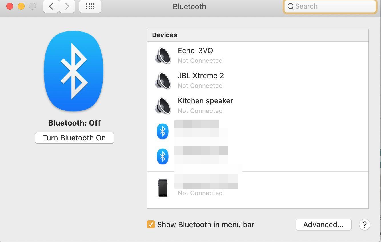 Bluetooth screen on a Mac