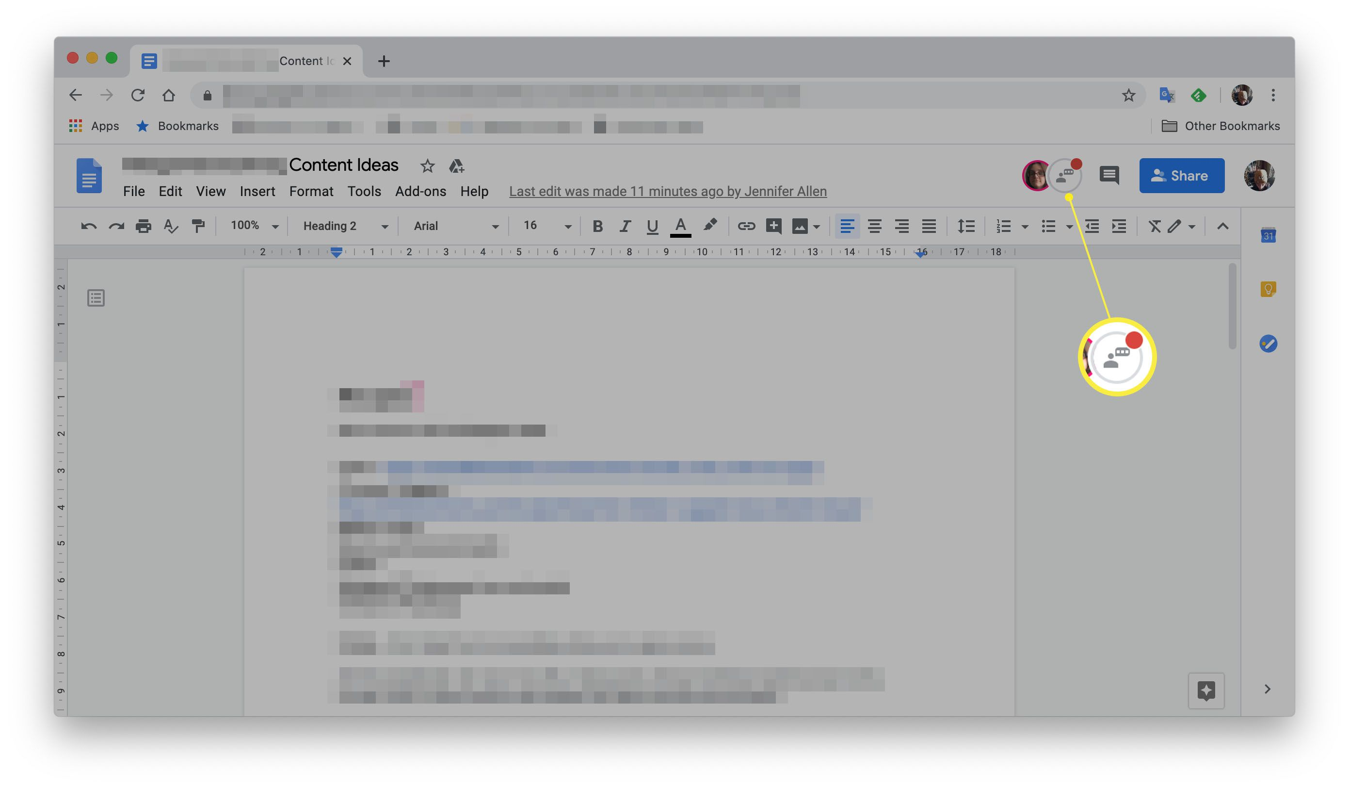 Google Docs with Show Chat button highlighted