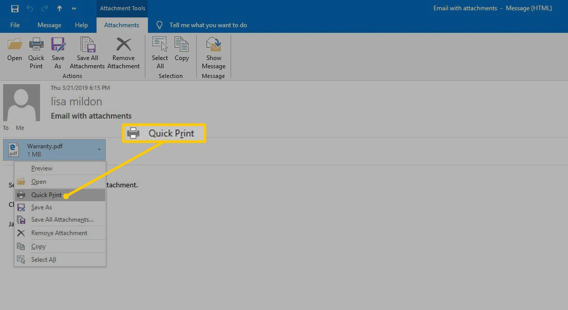 Quick Print menu option in Outlook