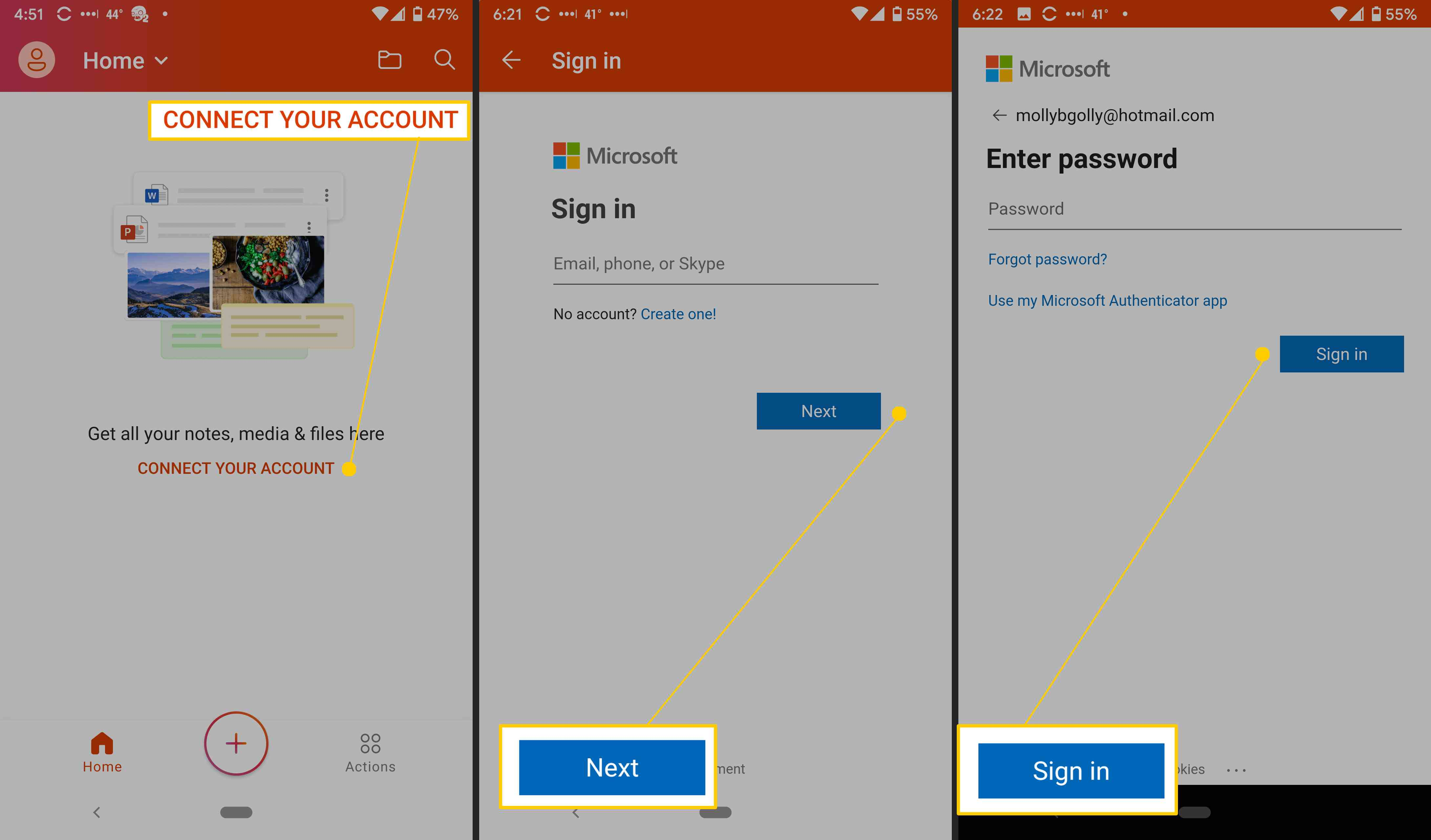 Microsoft Office app for Android setup.