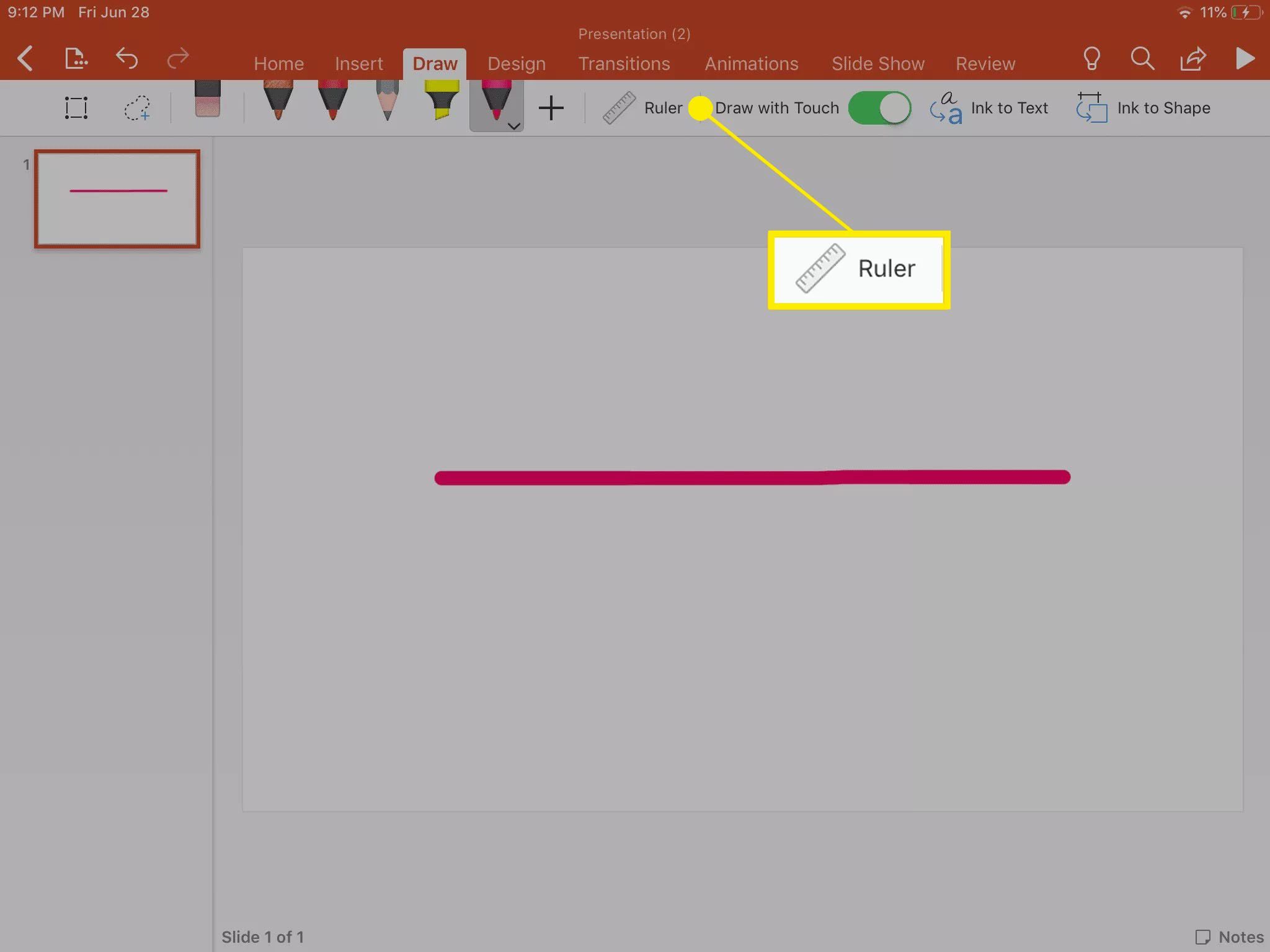 Drawing a straight line using the Ruler and Pen tools inside PowerPoint.