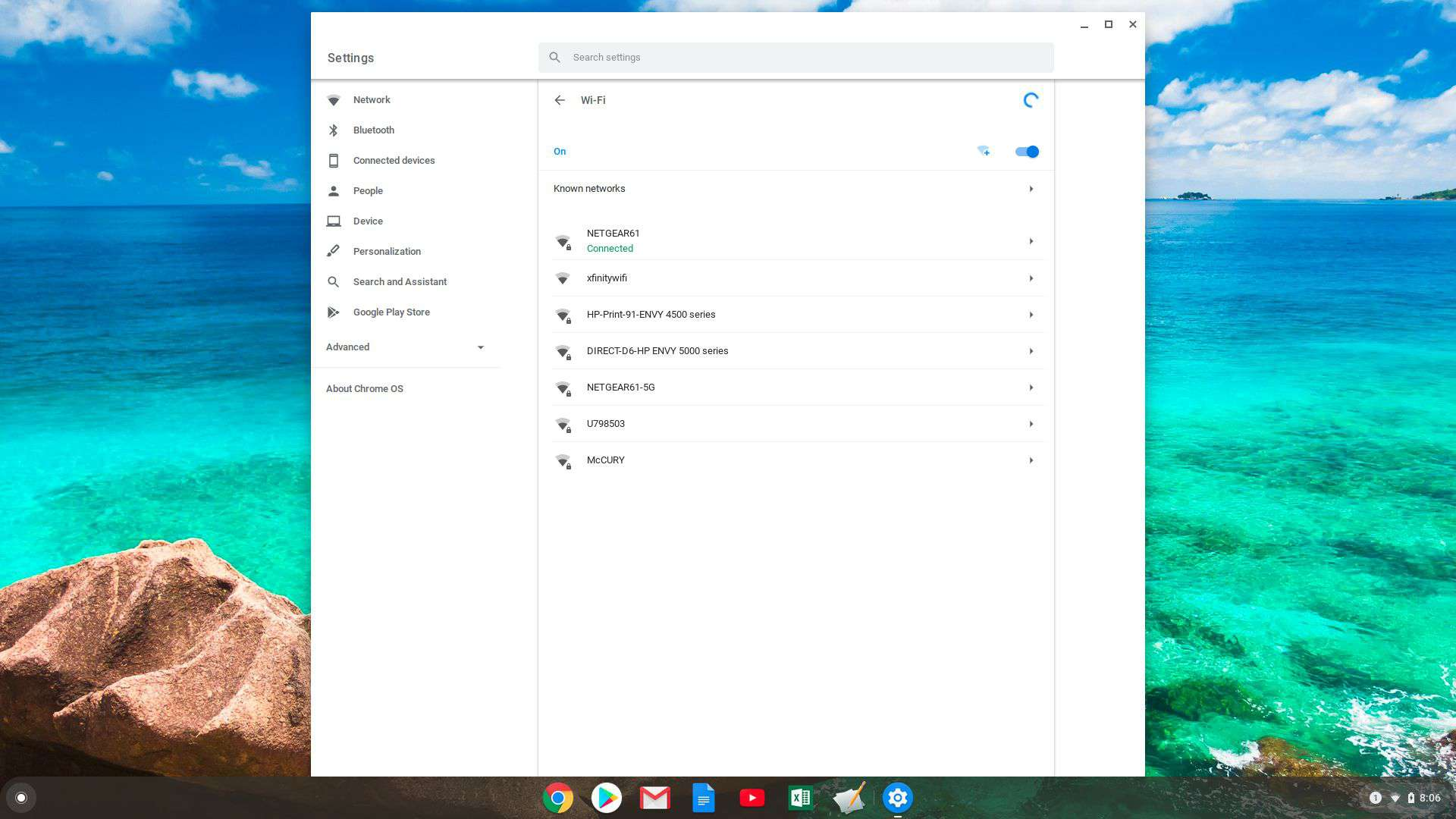 Screenshot of network connected status on Chromebook