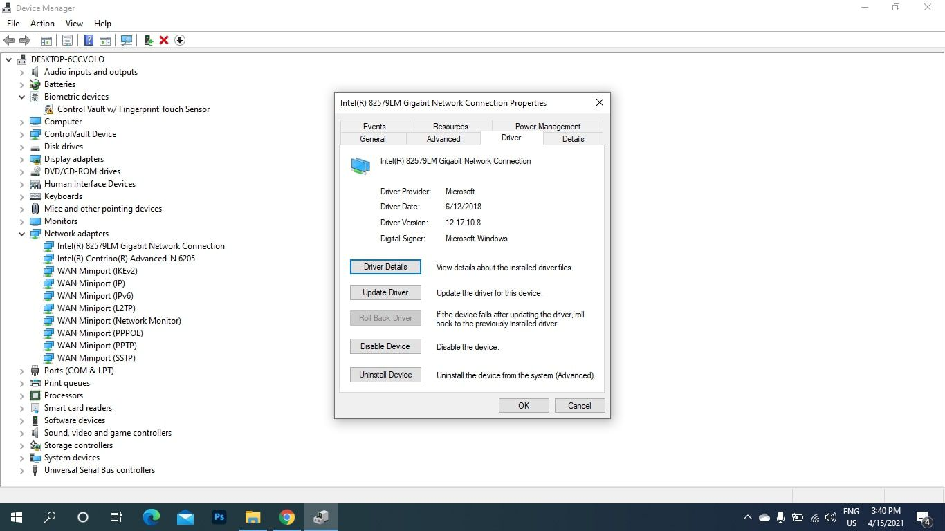 Update Drivers in the Network Connection window in Windows device manager