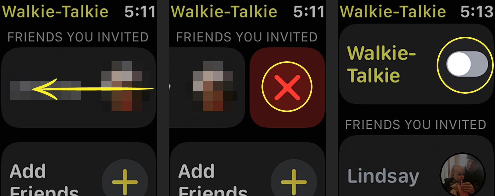 Removing a contact from the Walkie-Talkie app