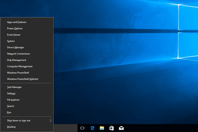 Screenshot of the Power User Menu in Windows 10