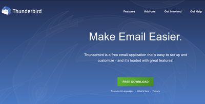 Mozilla Thunderbird homepage.