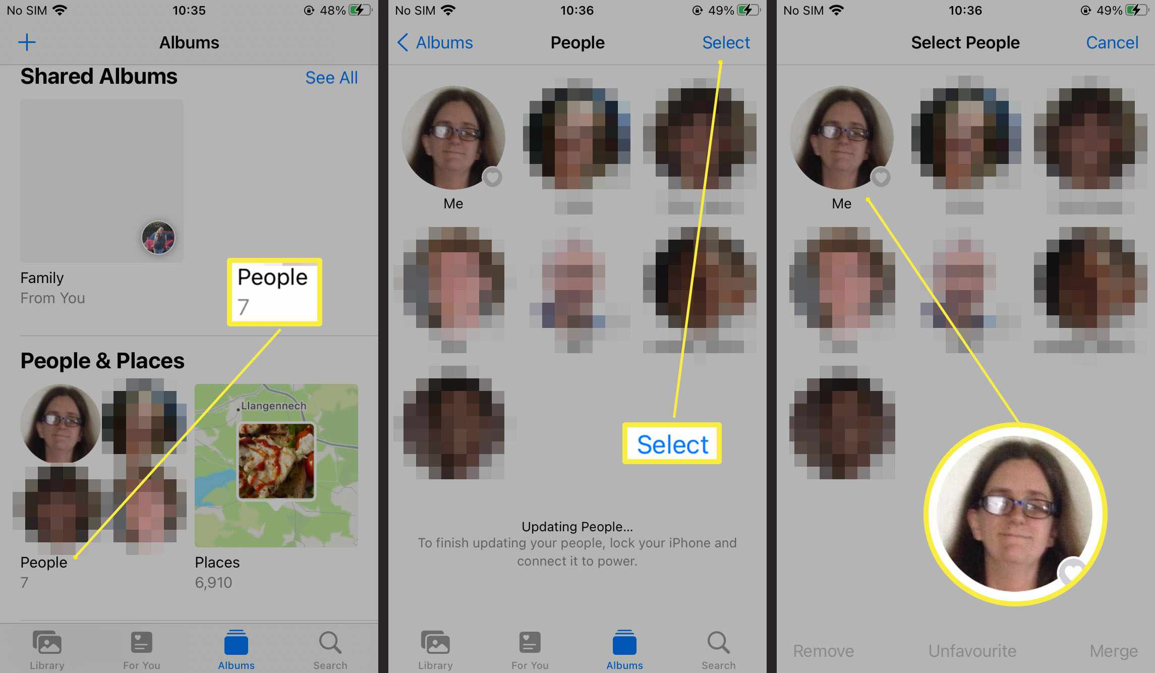 Steps required to select someone in People album on Photos on iOS 15