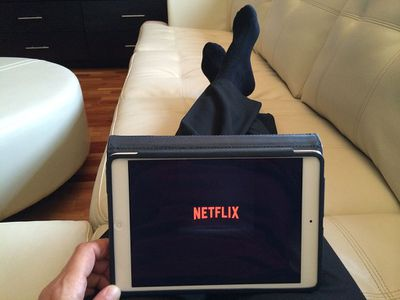 Watching Netflix on a tablet