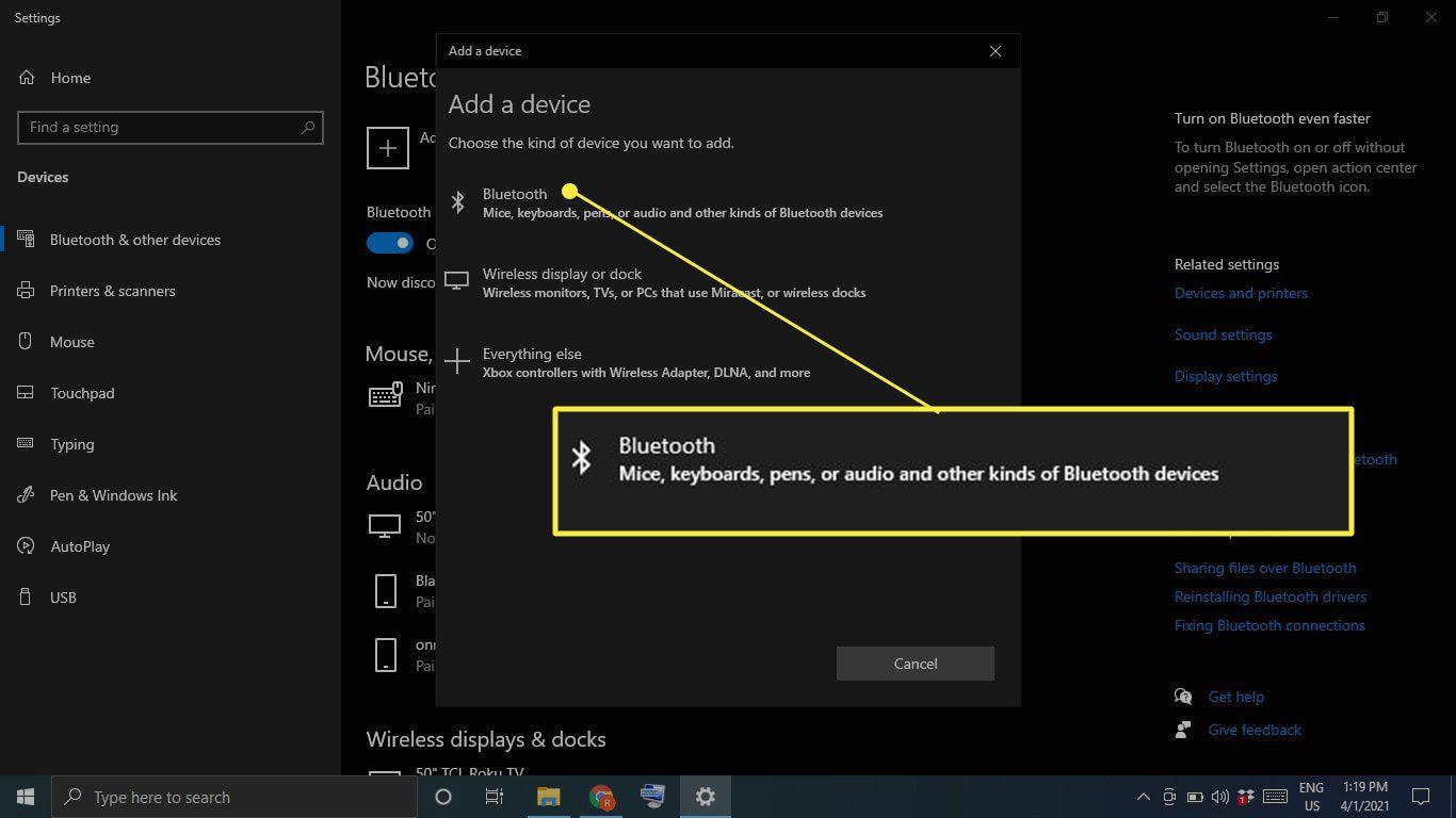 Bluetooth under Add a Device in Windows 10 Bluetooth settings