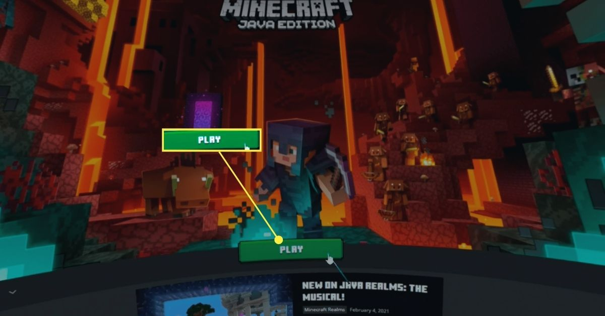 Play button in Minecraft in the Steam VR virtual desktop.