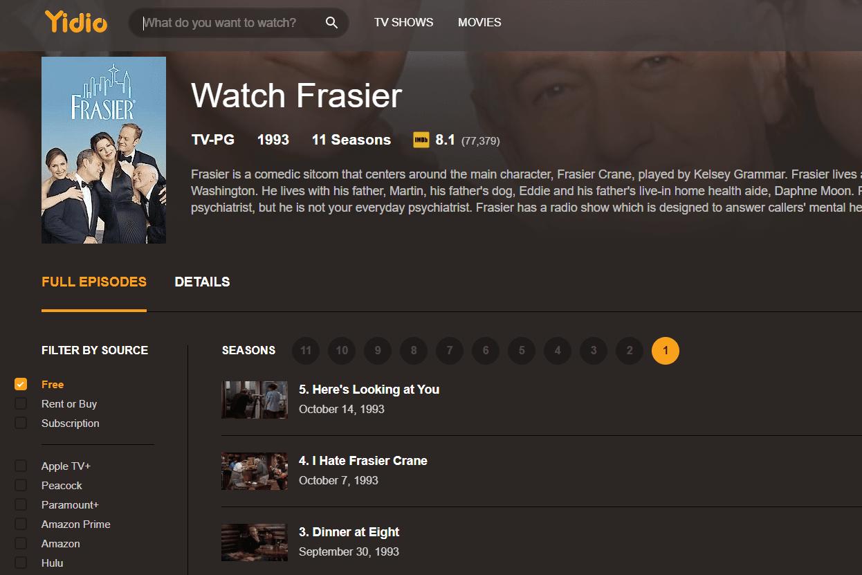 Frasier free episode streams through Yidio