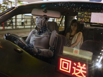 Robot driving a taxi with a woman in the backseat