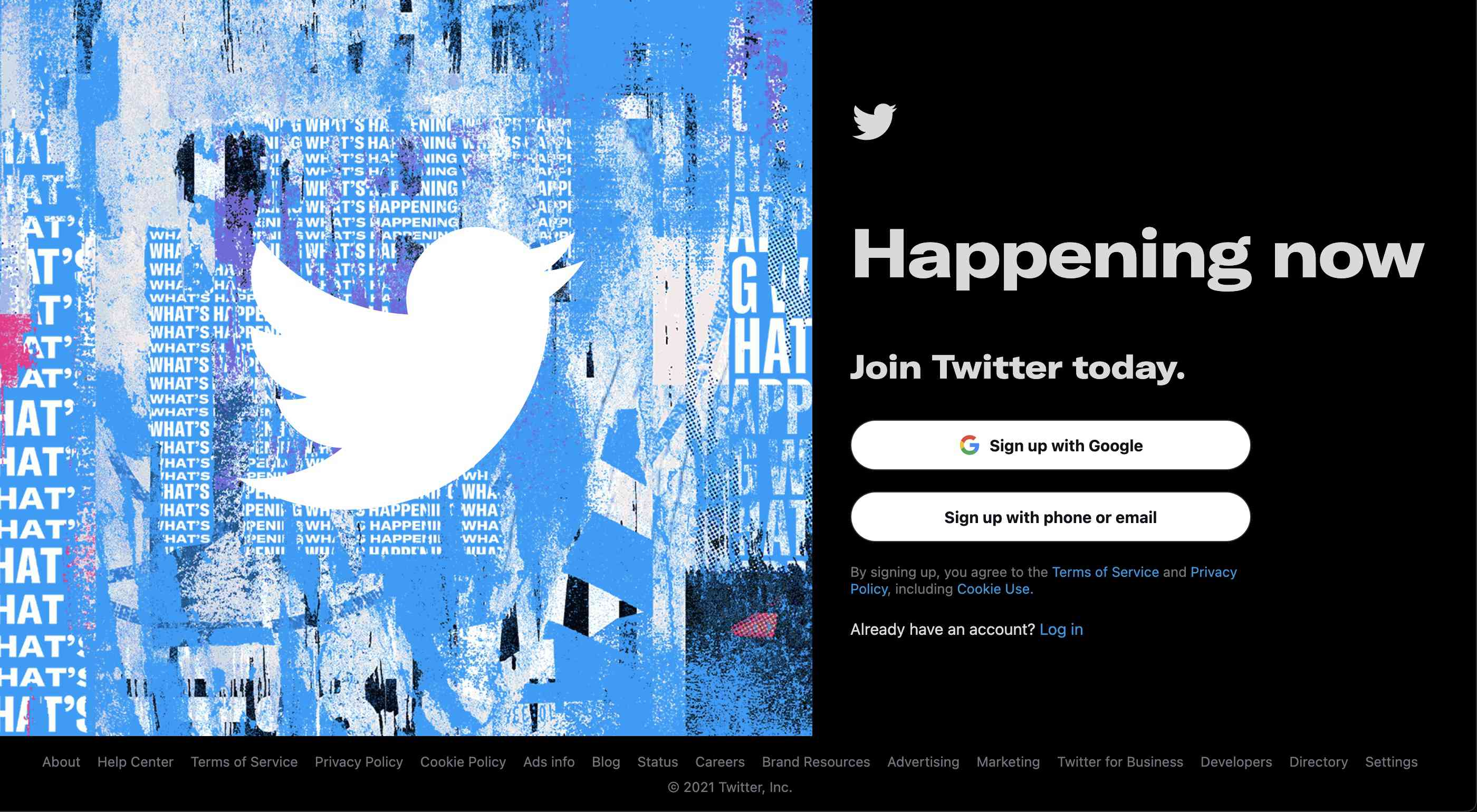The Twitter sign-up page