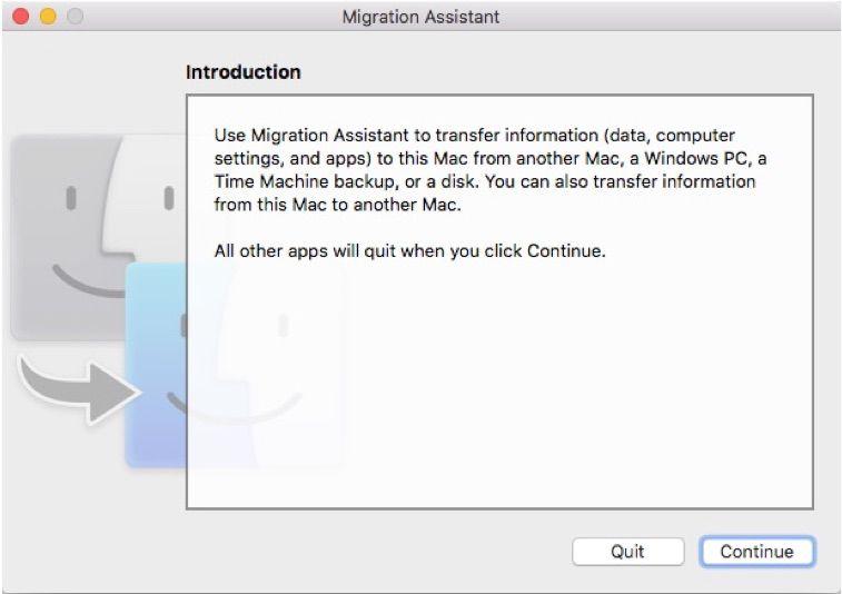 Screenshot of Migration Assistant on a Mac