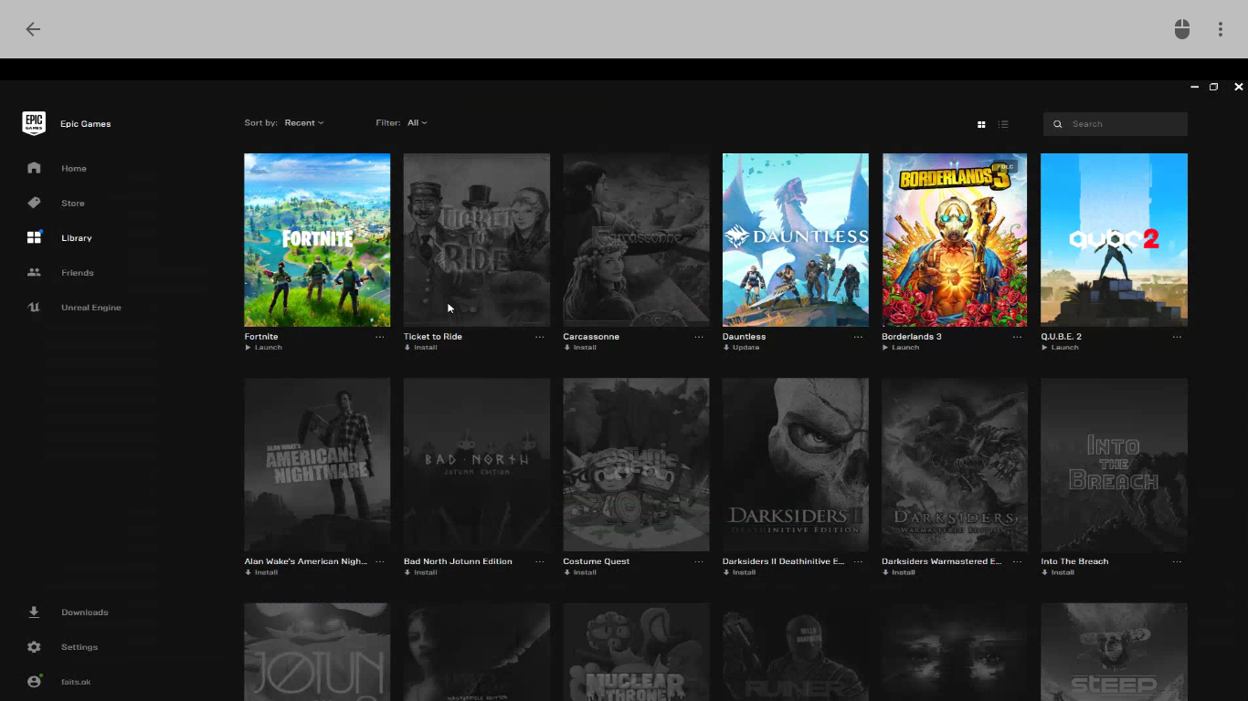 A screenshot of the Epic Games Store in Chrome Remote Desktop.