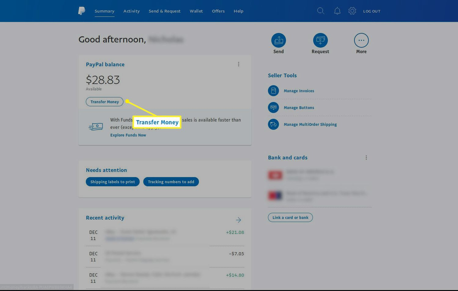 PayPal summary screen with Transfer Money highlighted